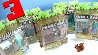 getlinkyoutube.com-Minecraft Jazwares Series 3 Action Figures Steve Alex Pigman & More