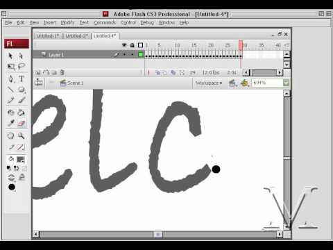 Video Tutorial how create hand writing effect using Adobe Flash CS3