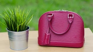 getlinkyoutube.com-Louis Vuitton Alma BB Fuchsia Epi Leather Bag Review Reveal