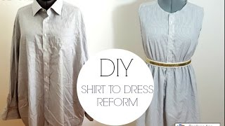 getlinkyoutube.com-DIY REFASHION SHIRT INTO DRESS
