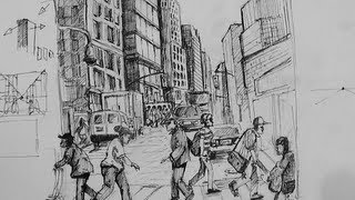getlinkyoutube.com-Pen & Ink Drawing Tutorials | How to draw a busy city Scene