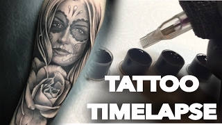 getlinkyoutube.com-TATTOO TIME LAPSE / REALISTIC ROSE + DAY OF THE DEAD PORTRAIT