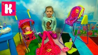 getlinkyoutube.com-Свинка Пеппа коляска и качелька и открываем игрушки из сказки кормим куклу Peppa Pig unboxing toys