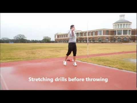 javelin warm-up drills (flexibility) + throws