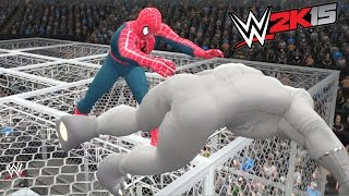 getlinkyoutube.com-WWE 2K15 - SPIDER MAN VS RHINO - EPIC BATTLE