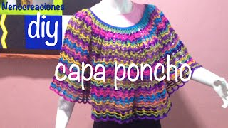 getlinkyoutube.com-Capa Poncho Fácil y Rápido #Ganchillo #Crochet Easy Layer up DIY