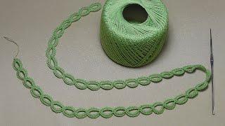getlinkyoutube.com-Урок вязания ЛЕНТОЧНОГО КРУЖЕВА - КОЛЕЧКИ - Crochet Simple Lace - как вязать тесьму шнур