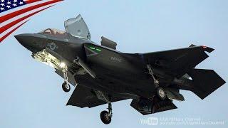 getlinkyoutube.com-F-35B戦闘機の第2陣が垂直着陸モードで岩国基地に着陸