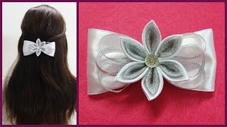 getlinkyoutube.com-DIY kanzashi hair bow,how to make hair bow,kanzashi tutorial