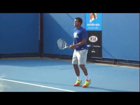Jo-Wilfried Tsonga Practice - Australian Open 2012