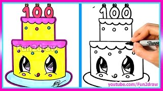getlinkyoutube.com-How To Draw and Color a Cute Cake Easy - 100 Million Views Celebration - Fun2draw