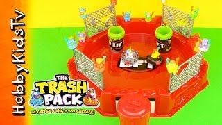 TRASH PACK Battle Arena Spin Launchers Toy Open Play Review Garbage Fighting Spinning by HobbyKidsTV