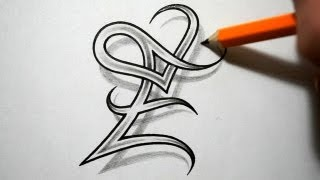 getlinkyoutube.com-Initial E and Heart Combined Together - Celtic Weave Style - Letter Tattoo Design