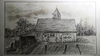getlinkyoutube.com-How to draw an old barn (old farm house) - Part 2