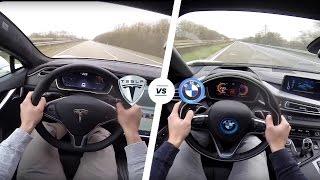 getlinkyoutube.com-Tesla Model S P90D LUDICROUS vs BMW i8 Acceleration & TOP SPEED POV Autobahn