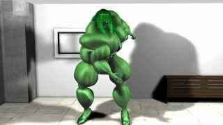 getlinkyoutube.com-3d animation She-Hulk aka Green Jenny the Female Bodybuilder - Arm flexing