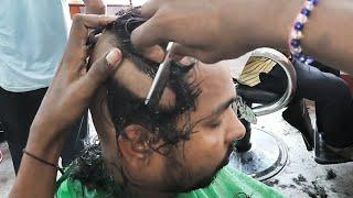 Head massage with head and beard shave (straight razor)