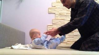 Daddy Teaching 5 Month Baby How to Sit Up