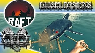 Raft : Let's Try:  Raft Eating Sharks!  Survival on the Sea! (HD Survival PC)