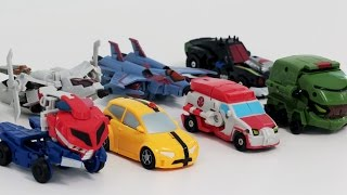 getlinkyoutube.com-Transformers Animated KO Mini Optimus Prime Bumblebee Megatron 8 Vehicles Robot Car Toys