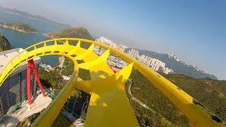 getlinkyoutube.com-Hair Raiser Roller Coaster POV Ocean Park Hong Kong B&M Floorless On-Ride