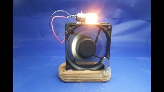 Free Energy Light Bulbs Using Magnet and Pc Fan - at home width=