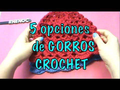 5 OPCIONES GORROS, MISMO PASO A PASO, IDEAS ganchillo crochet