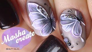 "getlinkyoutube.com-Объемный Маникюр ""бабочки на ногтях"" Фактурным гелем. Обзор гель лака Haruyama + Дизайн ногтей"