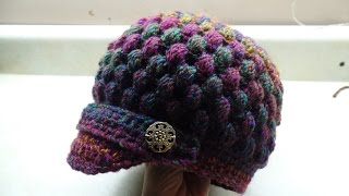 getlinkyoutube.com-CROCHET How to #Crochet Newsboy Puff Stitch Hat #TUTORIAL #254 LEARN CROCHET