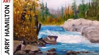 "getlinkyoutube.com-Paint Along with Larry Hamilton - November 19, 2014 - Oil Painting ""Peterborough Falls"""