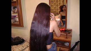 getlinkyoutube.com-indianrapunzels.com - long hair brushing braiding by man - Model EA - part2