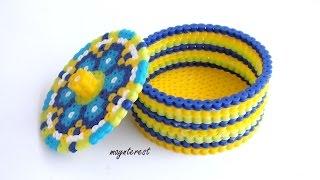 getlinkyoutube.com-DIY: Cómo hacer una CAJA REDONDA de Hama beads (perler beads)