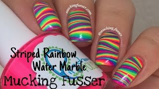 getlinkyoutube.com-Striped Rainbow Water Marble Nail Art Tutorial