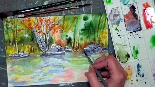 getlinkyoutube.com-Masking Trees & Rocks With Tape Autumn Watercolor Tutorial