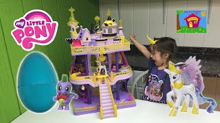 getlinkyoutube.com-BIGGEST MY LITTLE PONY CASTLE EVER CANTERLOT Huge MLP Surprise Toy Egg Princess Celestia Toys Review
