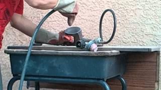 """getlinkyoutube.com-Home made """"sand blaster"""" """"pot blaster"""" removing rust from propane burner."""