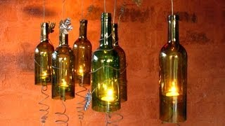 getlinkyoutube.com-Recycled Wine Bottles Made Into A Hurricane Candle Holder, DIY Video Crafts,decorating Ideas
