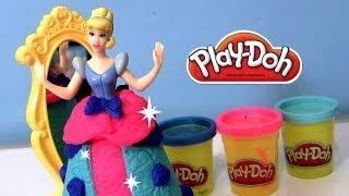 getlinkyoutube.com-Play Doh Sparkle Spin & Style playset Disney Princess Cinderella Play-Doh Brillante by Funtoys