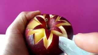 getlinkyoutube.com-Art In Apples Show - Fruit Carving Apple Secret Lucky Star ★ Garnish ★