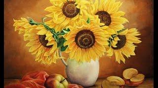 getlinkyoutube.com-Рисуем цветы Подсолнухи натюрморт