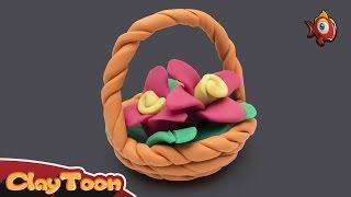 Flower basket   Polymer clay tutorial for kids