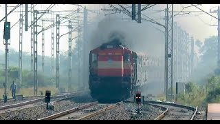 getlinkyoutube.com-WOW !! Ultimate Smoking : Hutatma Express with Flaming Pune WDM3D Smashes Uruli : INDIAN RAILWAYS