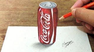 getlinkyoutube.com-Como Desenhar Uma Lata de Coca Cola em 3D ( How to draw in 3D )