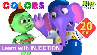 ANIMALS Gets Injections in the Bottom by BABY HULK | Play & Learn COLORS with Animals for Children