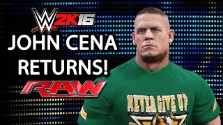 getlinkyoutube.com-John Cena Returns to RAW 2016 & Saves Roman Reigns - WWE 2K16