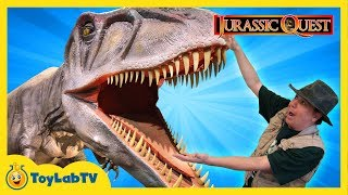 getlinkyoutube.com-JURASSIC QUEST FOR DINOSAURS! Giant T-Rex Family Fun Theme Park w/ Children's Activities & Kids Toys