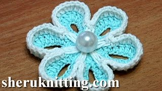 getlinkyoutube.com-How To Crochet Two-Side 3D Flower Tutorial 36 الكروشيه زهرة 3D