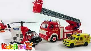 getlinkyoutube.com-Kids Toys: Fire Rescue Team! Fire Engine Truck, Police, Ambulance & Helicopter battle a FIRE!