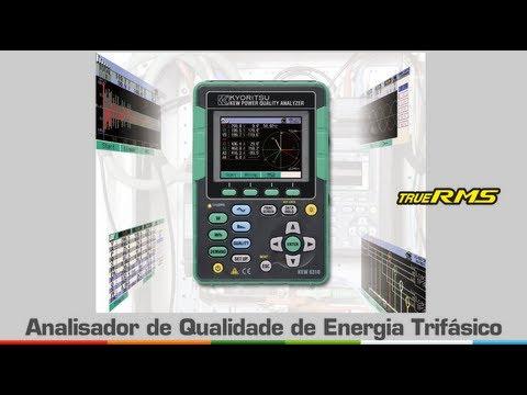 Analisador de Qualidade de Energia Trifásico TRUE-RMS, CAT III 600V, Harmônicas e USB