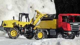 getlinkyoutube.com-Winter Special - Lego Scania OffRoad 6x6 Dump truck & Komatsu WA320-5